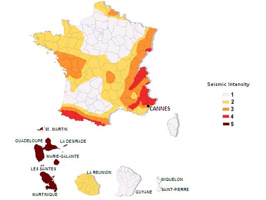 Zonas intensidad sísmica Francia